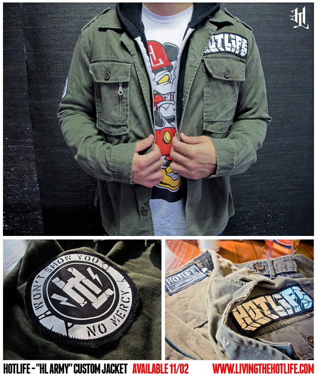 "SNEAK PEEK FOR TOMORROW! The HOTLIFE ""HL ARMY"" Custom Jacket!!! High end, high quality custom jacket. Features hand printed, custom sewn inner size tag, custom hand sewn arm AND pocket patches. Muted army green blends a classic military look with the modern HOTLIFE styling. Wearable alone or with layers as pictured. A PERFECT limited edition fit for stayin warm in winter. Get it tomorrow at: www.livingthehotlife.com"