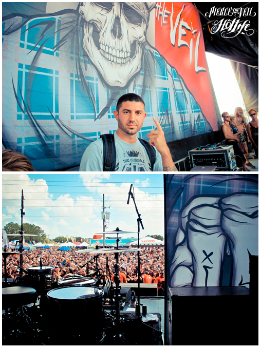 "Check out the stage we created for our friends Pierce the Veil. If you attended the Vans Warped Tour, Im sure you would have noticed it! We're very proud of how it turned out and even more proud of our friends in PTV. Check out some shots from the stage including a horrible pic of yours truly sporting the HOTLIFE ""FTW"" shirt in front. We also did the artwork for their upcoming tour with Sleeping With Sirens. Well post the artwork with the most up to date info later today. www.livingthehotlife.com"