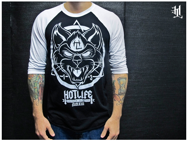 "HL #UNLUCKY13 Sneak Peek: #HOTLIFE ""BLACK CAT"" Baseball 3/4 Sleeve. Ultra soft premium clothing. Available with the Unlucky13 Collection in two days Feb 13th 2013 at:   www.livingthehotlife.com   Get into it."