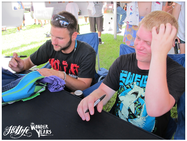 "The Wonder Years sporting the HOTLIFE ""2011 LIMITED EDITION RAT"" T at their exclusive autograph signing"