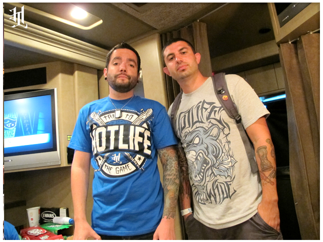 "Jeremy Mckinnon of A Day To Remember wearing the new HOTLIFE - TRUE TO THE GAME"" T. and myself with the new HL - Panther"" T on the tour bus just before hitting the stage.  www.livingthehotlife.com"