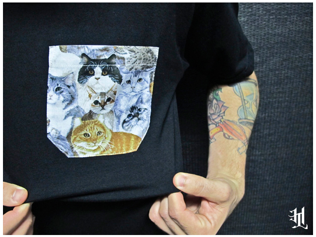 "HOTLIFE #UNLUCKY13 SNEAK PEEK: HL ""Cat & Sew"" Pocket T. Made by hand in Florida. Limited Edition and custom. Features sewn HL emblem tag & custom printed inner tag. Doesnt get any more rad then this. Available TOMORROW 2/13/13"