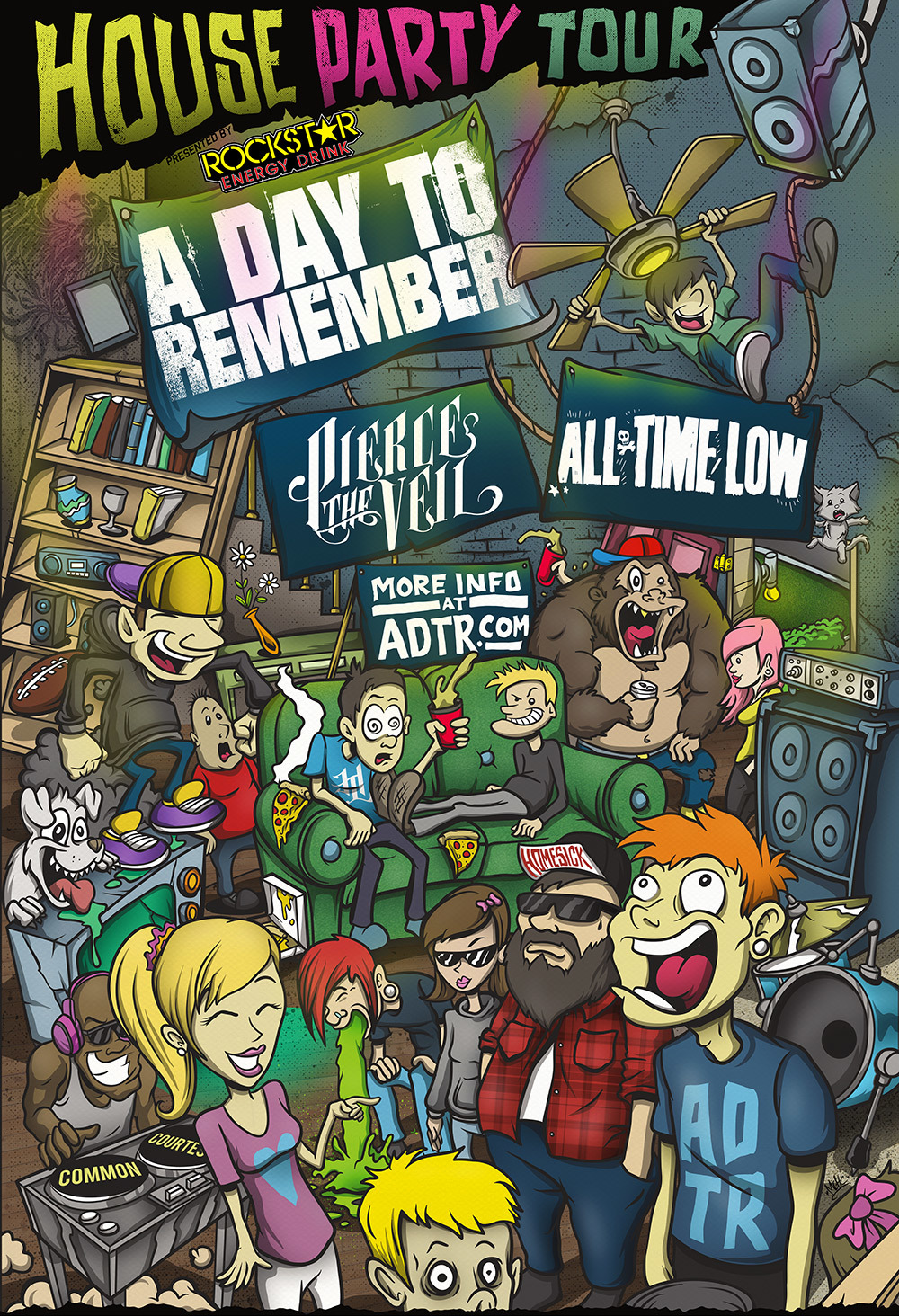 Well, it is finally announced! Check out the poster I designed for the upcoming HOUSE Party Tour with A Day To Remember, Pierce The Veil, All Time Low, and MORE! The artwork took forever and was a pain in my ass at times haha but Im xcited to finally be able to post it. The tour is gonna be sick, and we have even more in crazy stuff in store at the actual shows. Get excited spread the word and hope you enjoy. Also, you may just find someone wearing a HOTLIFE shirt in the poster. :)   -MikeC/HOTLIFE