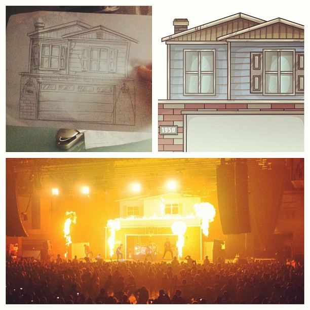 Such a great feeling to see my art come to life. From pen to the stage. I remember months ago my friend @therealjeremymckinnon called me to design and develop his idea for the coolest house show ever. I started sketching and we worked out all the details and made it happen. So rewarding and I'm so happy to be working with great friends and designing for #ADTR. #myartwork #housepartytour #art #myart #illustration #HOTLIFE #ADAYTOREMEMBER #DESIGN #illustration #HOTLIFECREW #stage #house #insane #houseparty #fire #ptv #alltimelow #thewonderyears #piercetheveil #fun #mikechardcore @hotlife