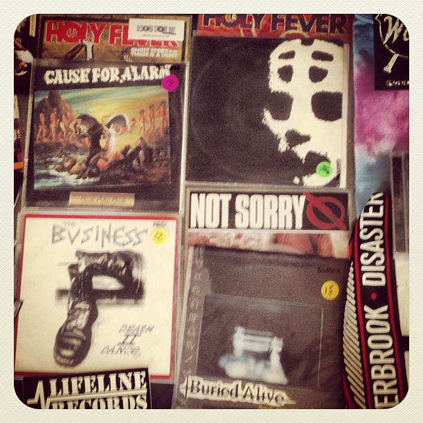 The best part of being a designer is meeting new people. Today I received two packages of gifts from some great friends. #thehaverbrookdisaster who sent me shirts, cds, stickers and #lifelinerecords I who sent me rare records of my FAVORITE bands!! #TheBusiness #Slapshot #buriedalive #causeforalarm #oi #nyhc #hardcore #worldwide #friends #germany #HOTLIFEcrew #family #punk