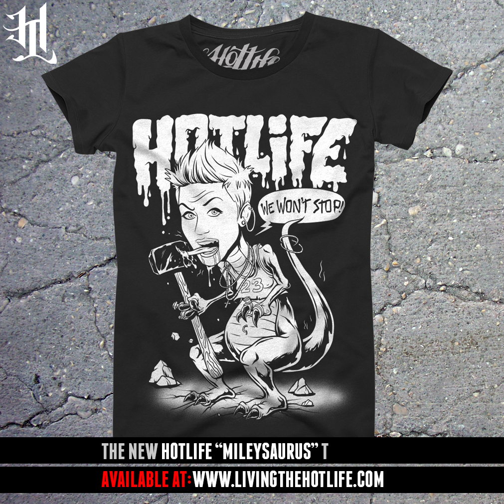 "We've been working non stop on the upcoming HOTLIFE Winter Collection, as well as designing insane stuff for all your favorite bands/clothing brands. Although we are not scheduled to release the Winter Line JUST yet, we are releasing a very limited edition, rare, Tee. Its our HOTLIFE ""Mileysaurus"" T. The only T thats as cray as she is. You can get one for a limited time ONLY in the HOTLIFE store: http://hotlife.bigcartel.com/product/brand-new-hotlife-mileysaurus-t Highest quality, hand drawn and hand made in by actual people in FL, USA. If you love what we do, PLEASE repost, tell a friend and spread the word."