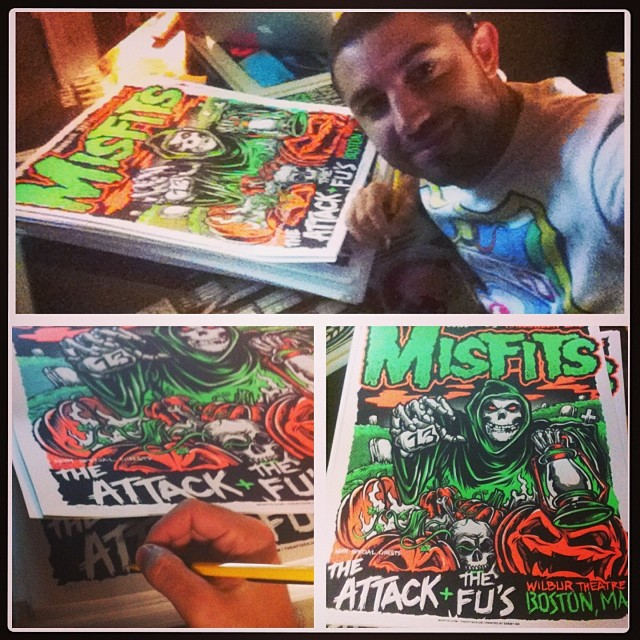 I was recently asked to design the official collectors Halloween 2013 Show poster for the legendary punk band the Misfits!!! Limited edition extremely rare and hand signed and numbered by yours truly. These perfectly printed art pieces are highest quality and will be available in the #HOTLIFE store very soon as well as the upcoming winter collection. Very proud. Flattered. And excited to be working with legends. #themisfits #misfits #weare138 #halloween #misfitsposter #poster #screenprinting #silkscreen #punkposter #horror #irememberhalloween #danzig #mikechardcore #HOTLIFECREW