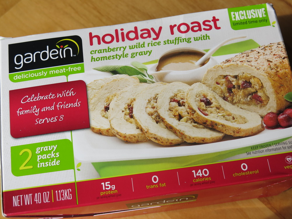 Gardein Holiday Roast with Cranberry Wild Rice Stuffing and Homestyle Gravy.