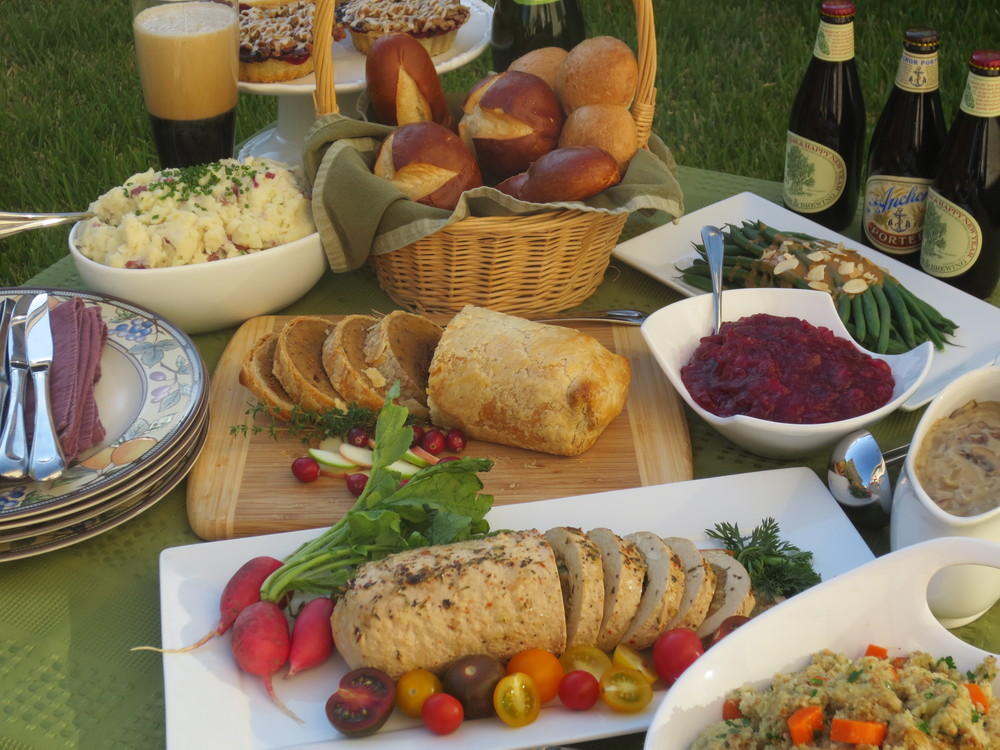 One of our vegan Thanksgiving Feasts from 2012 featuring both the Field Roast Hazelnut Cranberry En Croute and the Gardein Holiday Roast.
