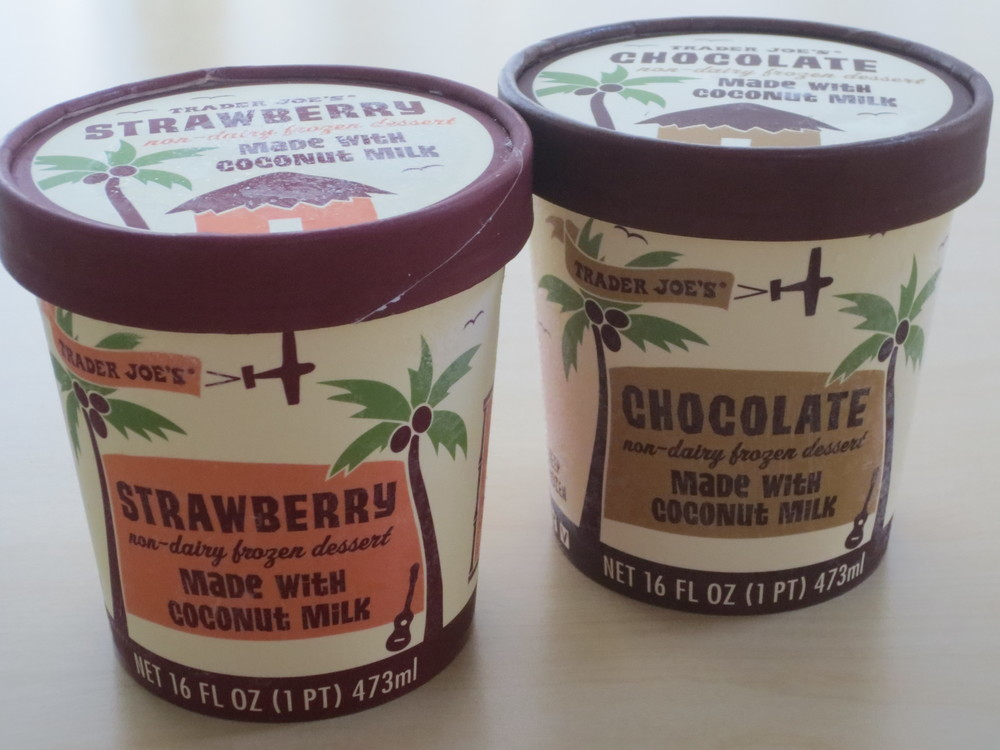 Coconut Ice Cream, Strawberry and Chocolate, $3.49 per pint (as of Nov 2013)
