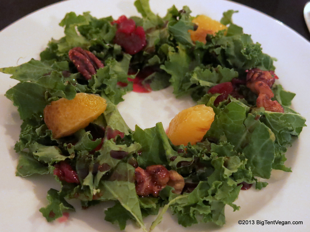 Vegan Christmas Wreath Salad with Kale, Oranges, Cranberries, and Candied Pecans & Walnuts