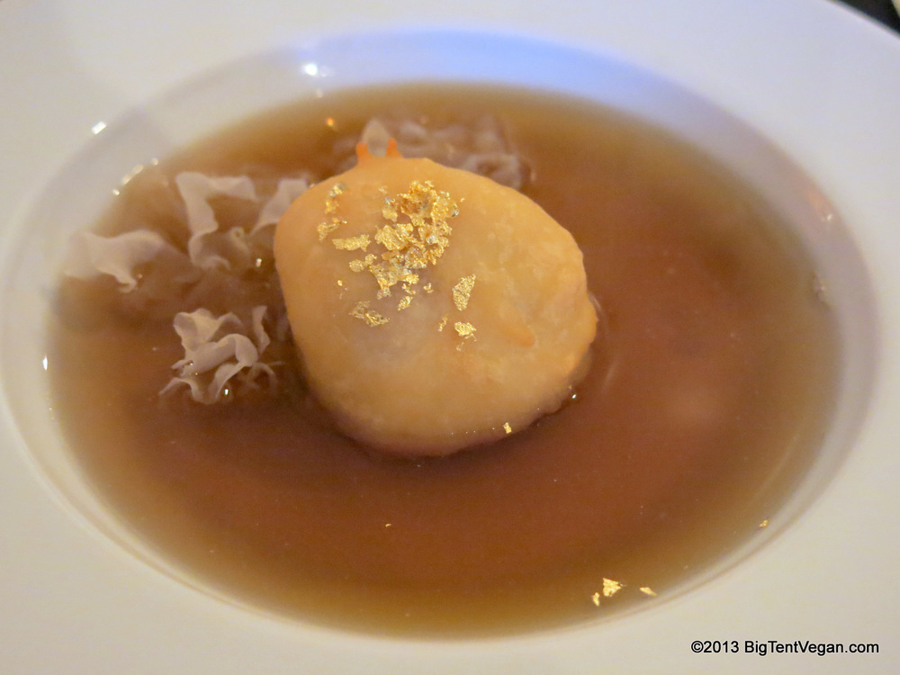 Konbu and Shiitake Vegan Consommé with Mochi Snowball and Gold Flakes