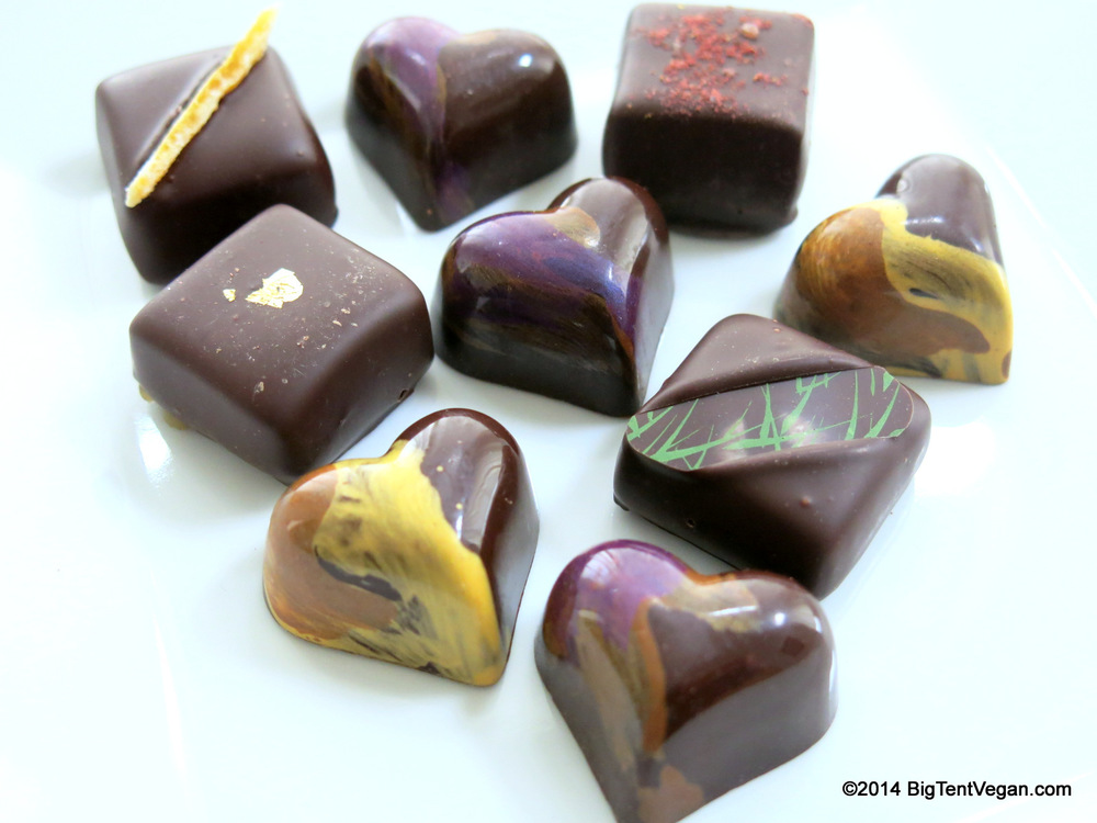 Close-up of chocolates from the 2014 Valentine's Box by Desiderio Chocolates (100% Vegan company)
