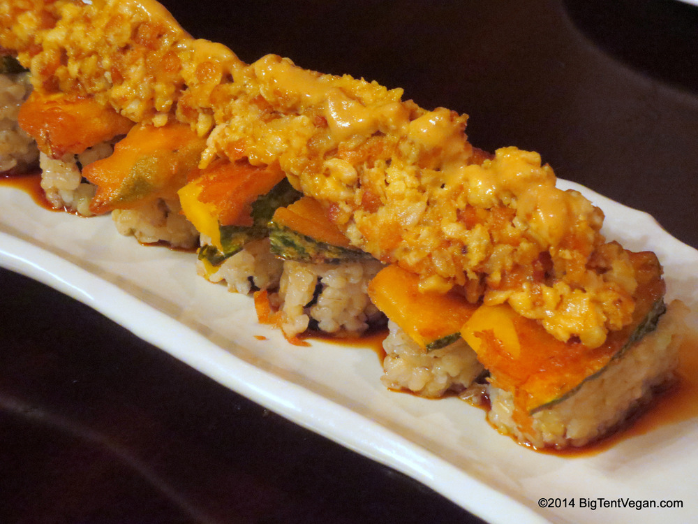Yellow Magic Orchestra: Pumpkin Tempura and Curry Spiced Tempeh on a Green Vegetable Roll, served with Japanese Karashi Mustard Sauce and Sweet Soy Sauce.