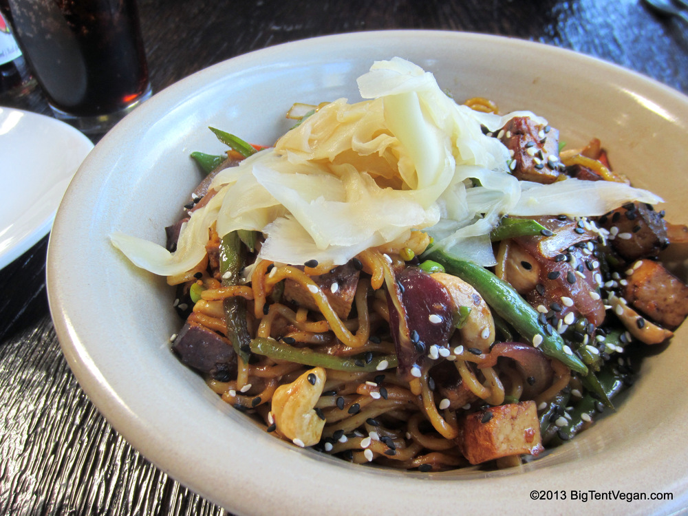 Yakisoba with San Diego Soy Dairy Tofu, Chef Alex Carballo, Stone Brewery World Bistro and Gardens (Escondido, CA)