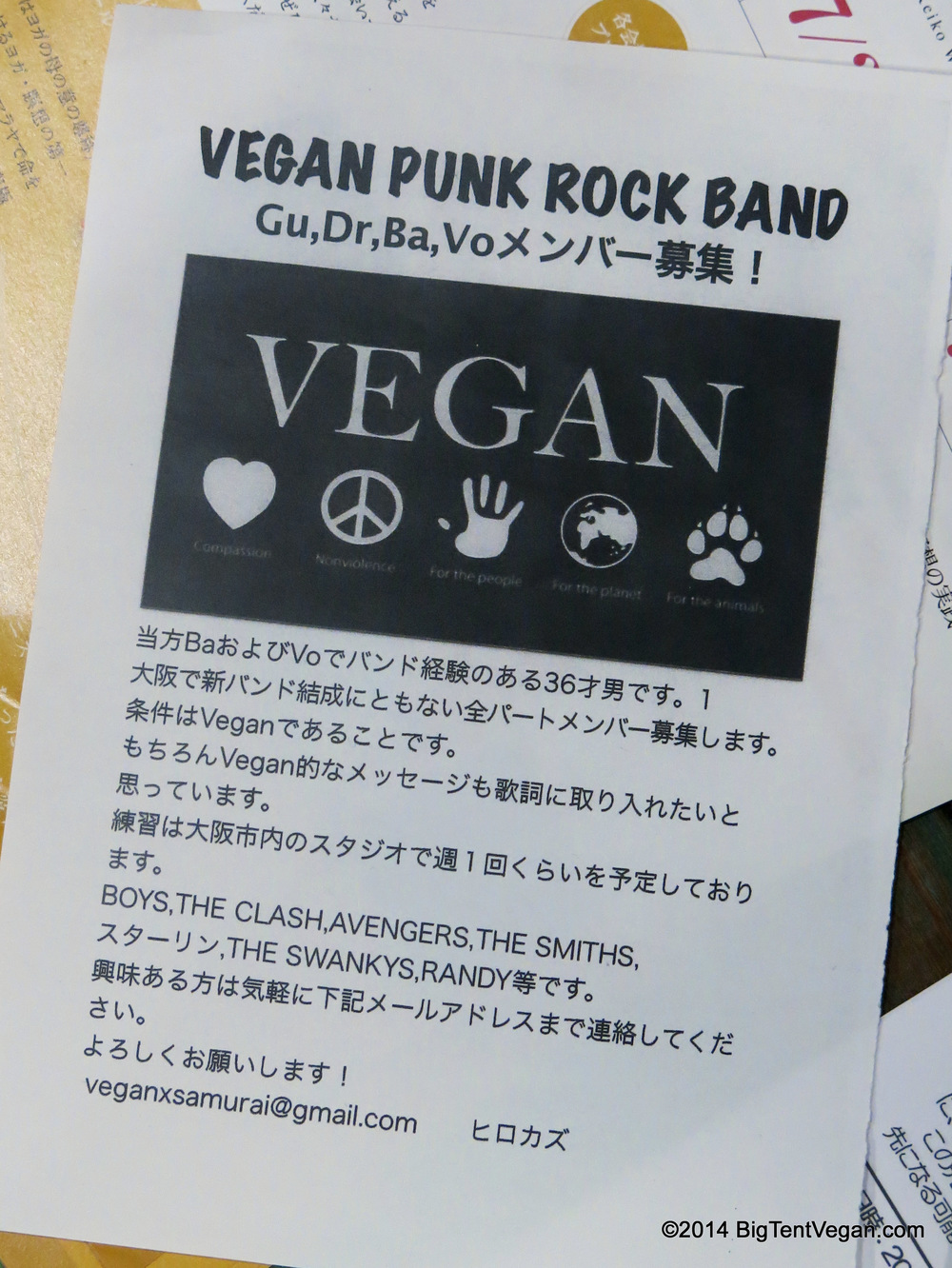 Flyer for a Vegan Punk Rock Band -- we didn't get a chance to see them, but we thought the flyer was cool.