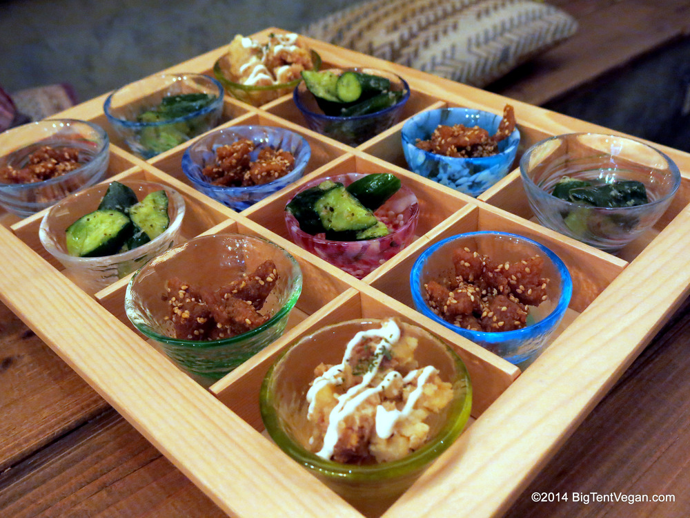 Amuse bouche tray at 100% vegan restaurant Paprika Shokudo in Osaka, Japan