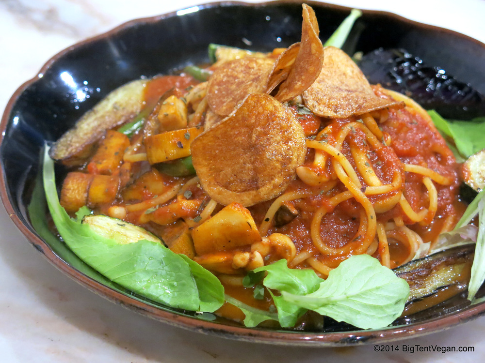 Tomato Sauce Pasta with Enoki Mushrooms and Eggplant at Vegans Café and Restaurant (100% vegan restaurant in Kyoto, Japan)