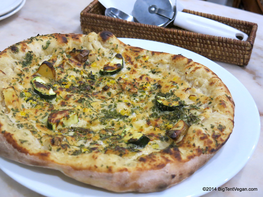 Soy White Pizza with Roasted Potatoes and Grilled Squash from 100% vegan Vegans Café and Restaurant in Kyoto, Japan