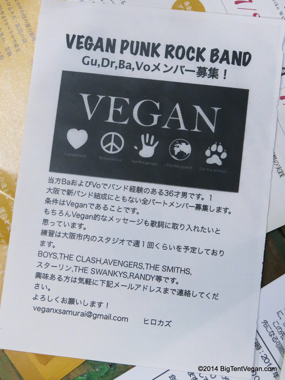 Flyer we spotted at Vegans Café and Restaurant for a Vegan Punk Rock Band