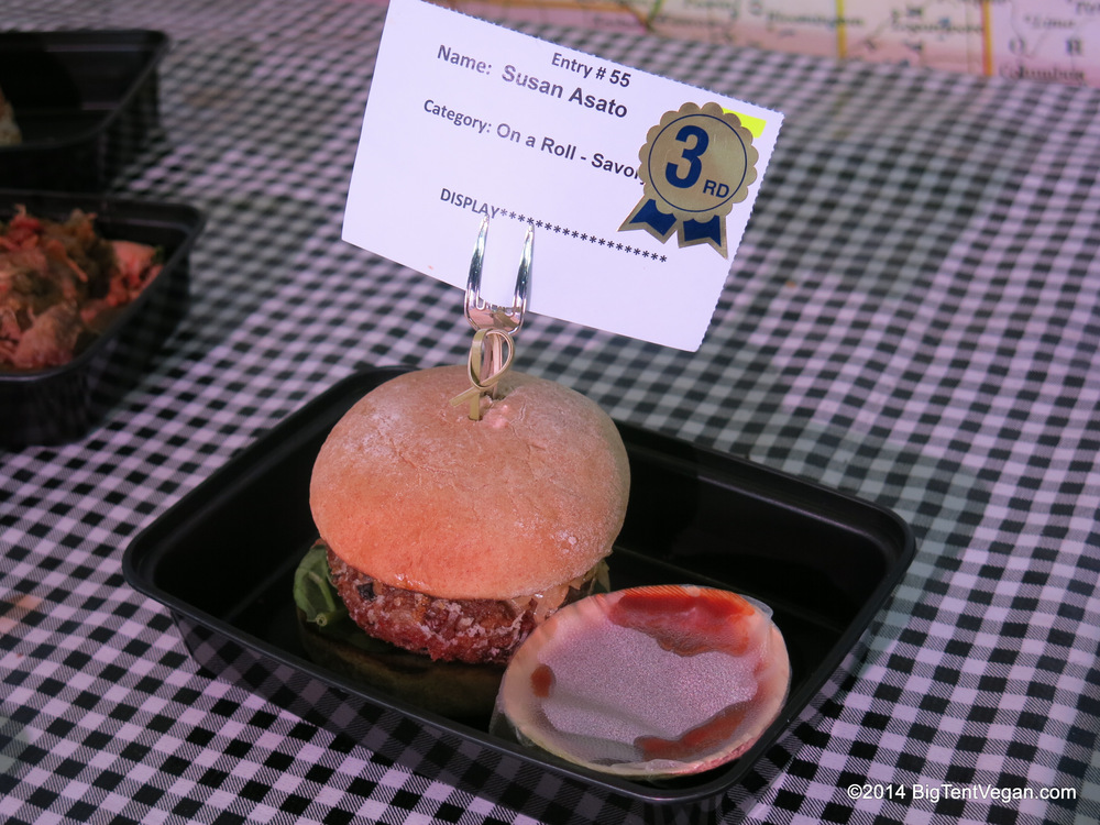 "Vegan Mushroom Pecan Burger with Caramelized Balsamic Onions, 3rd Place, 2014 Orange County Fair, Fairtastic Foods Competition (""On A Roll"")"