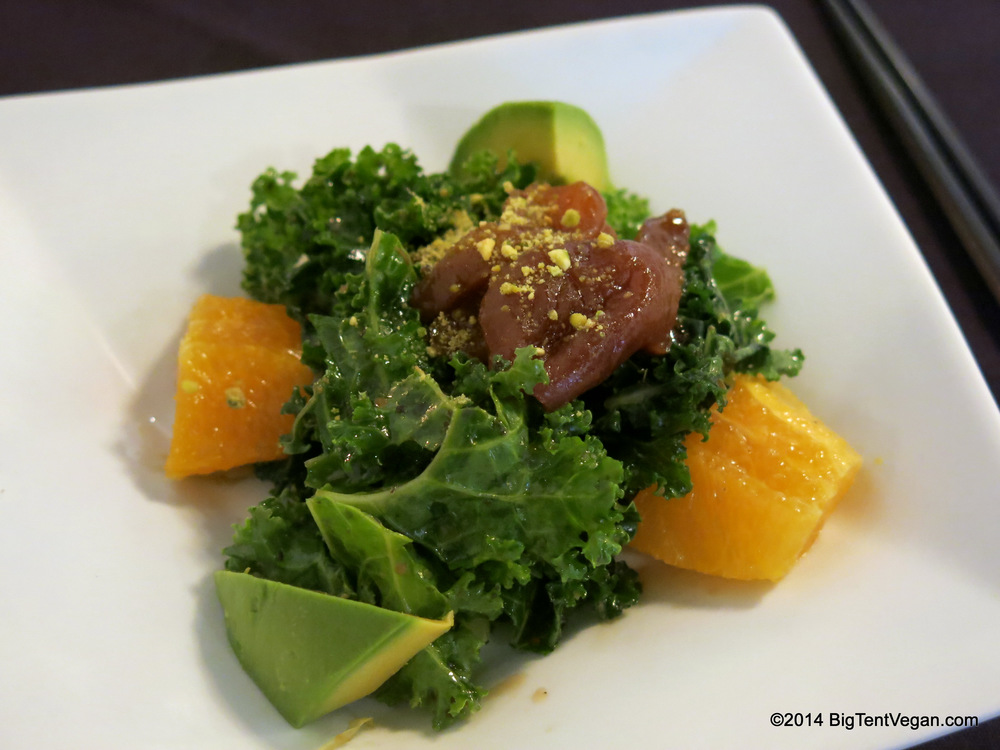 Course Five: Apricot Kale Salad with Lemony Soy Vinaigrette, Dried Apricots, Avocado, Oranges, and Crushed Pistachios