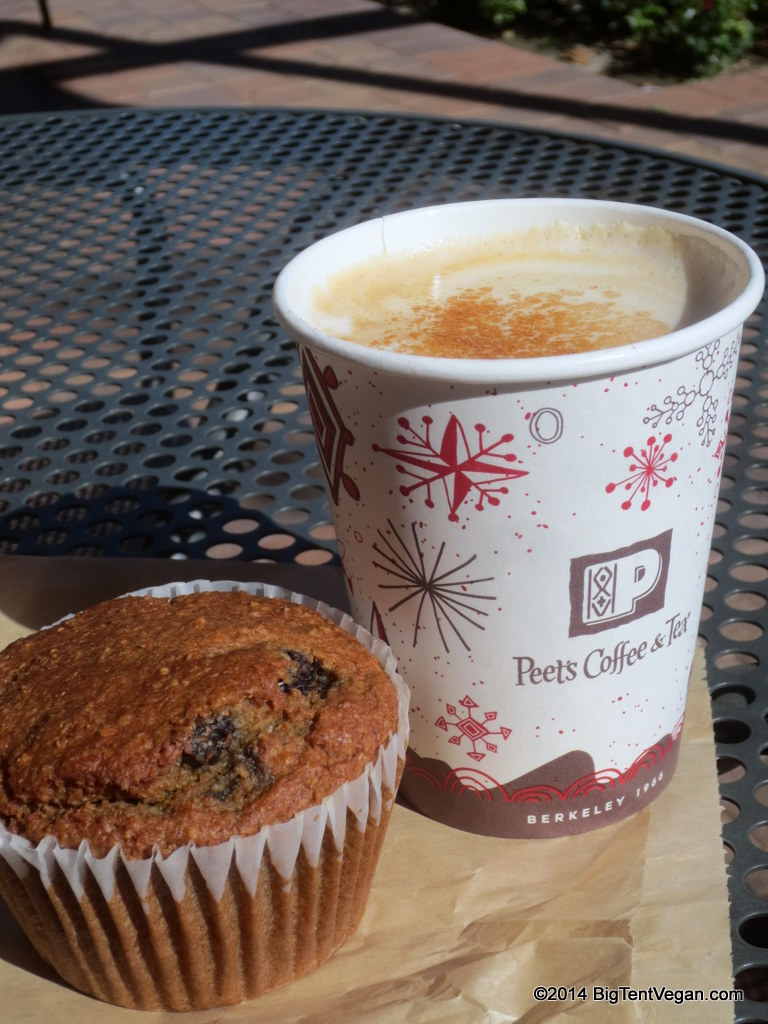 Cinnamon Hazelnut Latte (request almond milk) and Vegan Blueberry Oat Bran Muffin from Peet's Coffee and Tea
