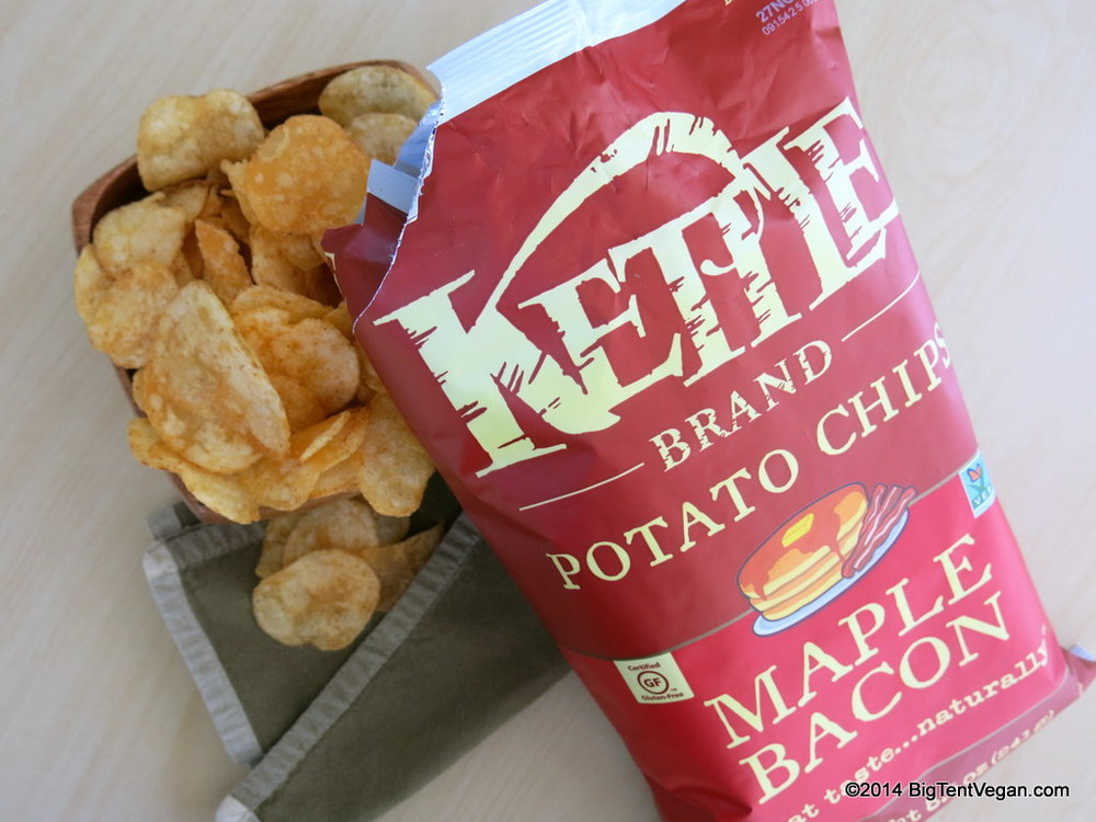Kettle Brand Maple Bacon Potato Chips (available online through  Vegan Essentials , but also in many mainstream supermarkets, right in the regular potato chip aisle). Yes, yes, this is really vegan!