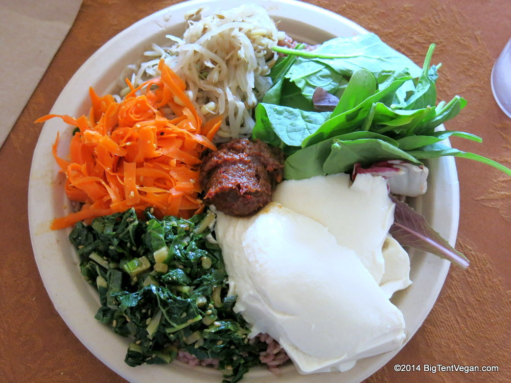 Peace Cafe  (Honolulu, HI, USA) Shown here is the Heart and Seoul Bibimbap with fresh tofu. They even have vegan spam musubi for kamaainas.
