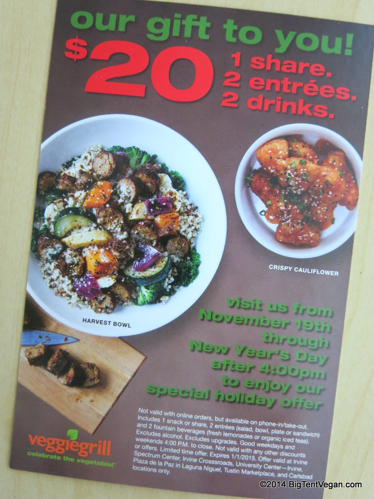 "This ""2 for $20"" offer is valid at five locations in Irvine, Laguna Niguel, Tustin, and Carlsbad through Jan 1, 2015."