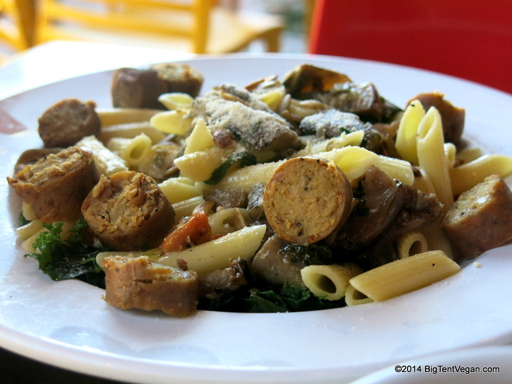 Chargrilled Veggie + Penne with Field Roast Sausage at  Veggie Grill  (please note this dish is served chilled)