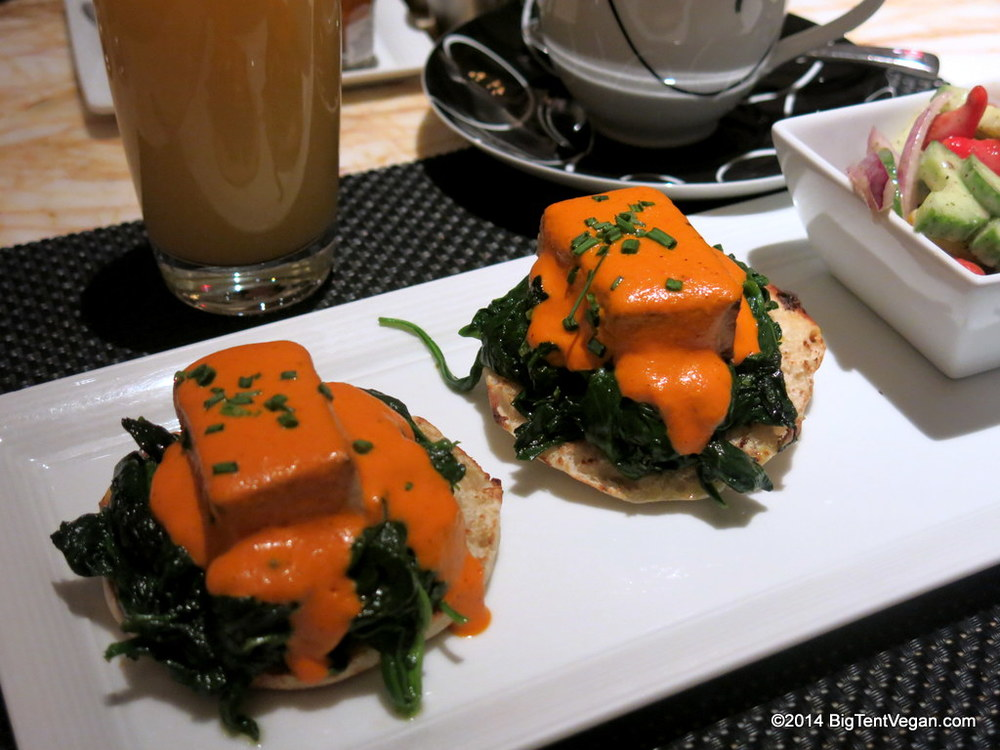 florentine benedict with smoked tofu, spinach, and romesco sauce from the secret vegan menu at society cafe at the encore (las vegas, nv, usa)
