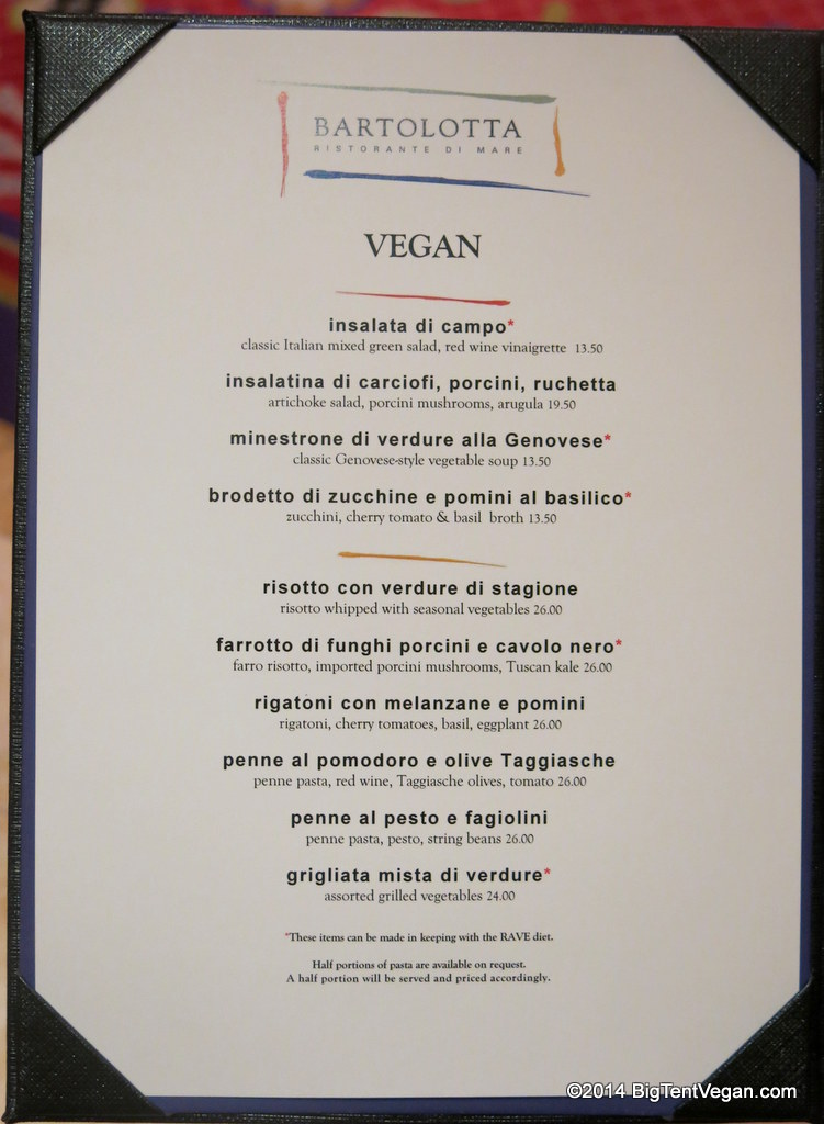bartolotta at the wynn (vegan menu as of dec 2014)