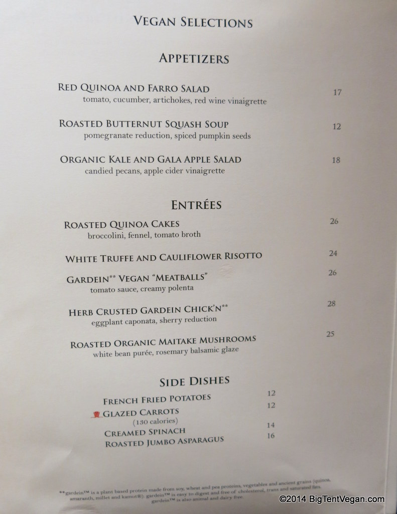 sw steakhouse at wynn (vegan menu as of dec 2014)