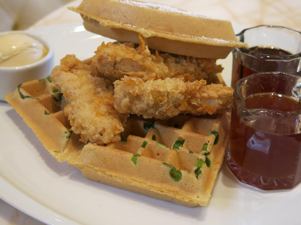 Crispy gardein chik'n breast with scallion waffle and spiced and sweet maple syrups from the secret vegan menu at terrace pointe cafe at the wynn (las vegas, nv, usa)