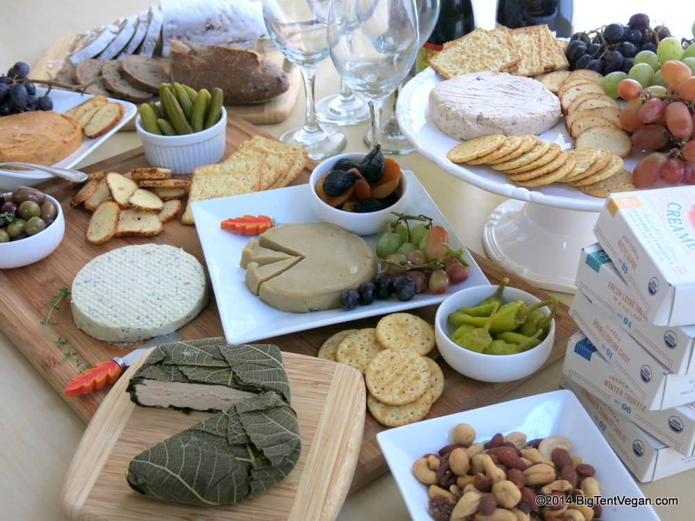 Vegan Cheese Party with cheese wheels from miyoko's kitchen