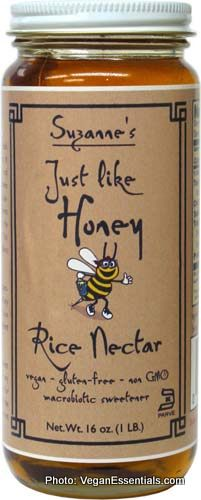 Vegan Just Like Honey (made from rice nectar). Available in specialty health food stores and online at veganessentials.com.