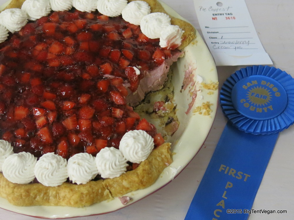 Susan's Vegan Strawberry Cream Pie -- 1st Place at 2015 San Diego County Fair!