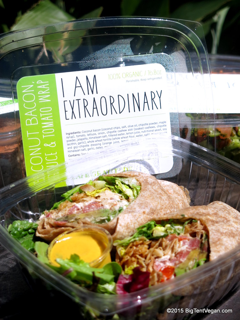"VEGAN Coconut Bacon, Lettuce, & Tomato Wrap: ""I am Extraordinary"""
