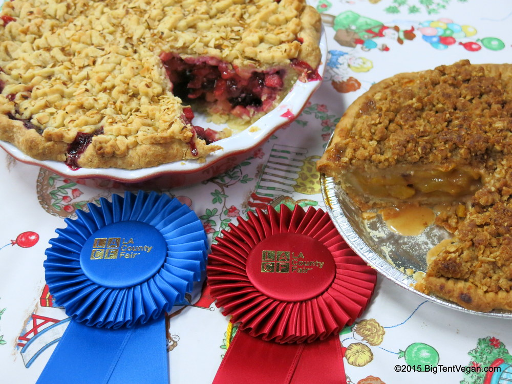 Susan Asato's 1st Place Vegan BumbleBerry Pie (left),  and  Jessica Kubel's 2nd place Vegan Peach Pie!  At the 2015 Los Angeles County Fair (Pomona, Los Angeles, CA, USA) All-American Pie Contest, Fruit Division