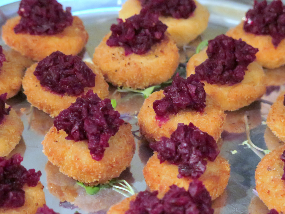 A close second to the blini, in Ryan's opinion -- tofu cheese croutons with beet tartare.