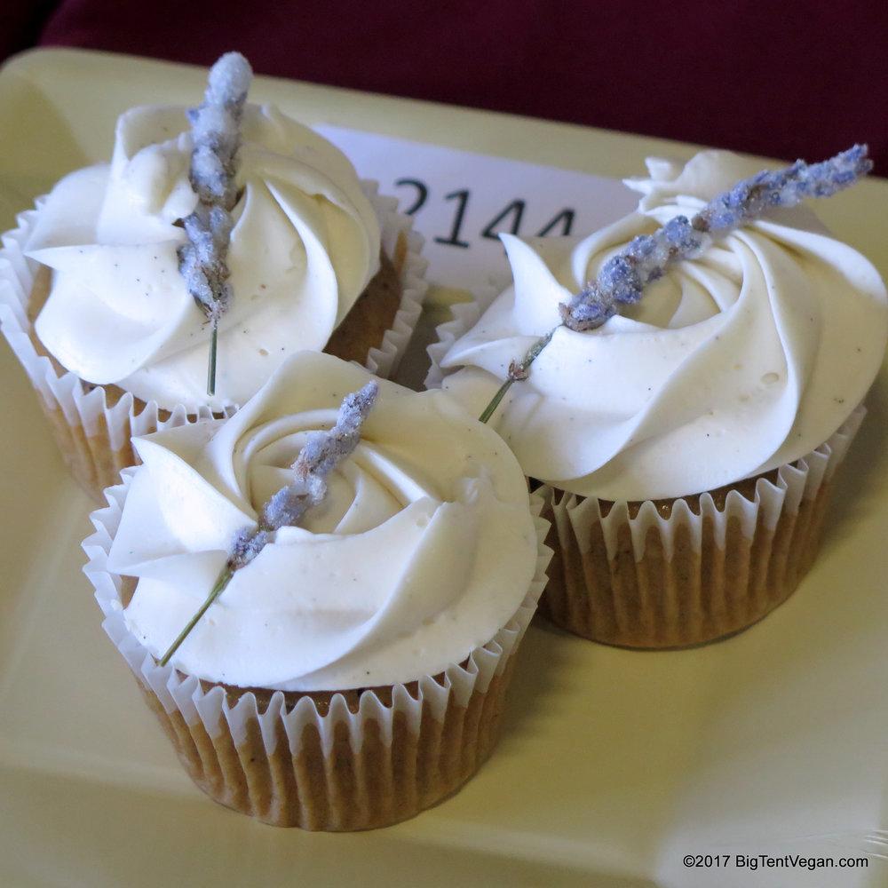 1st PLACE:      Leanne Winslow     Vanilla Earl Grey Cupcakes with Lavender Vanilla Swiss Meringue Buttercream