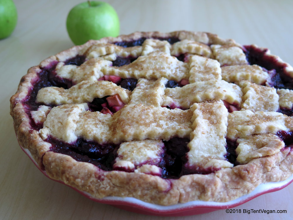 vegan cherry apple pie, 1st place in double crust fruit at the all-american pie contest at the 2018 los angeles county fair