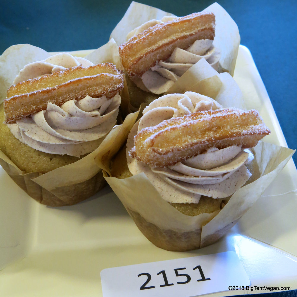 3rd Place: Brenda Magana (   Mi Kasa Vegana   )     Vanilla Cupcake with Cinnamon Frosting, Topped with a Churro