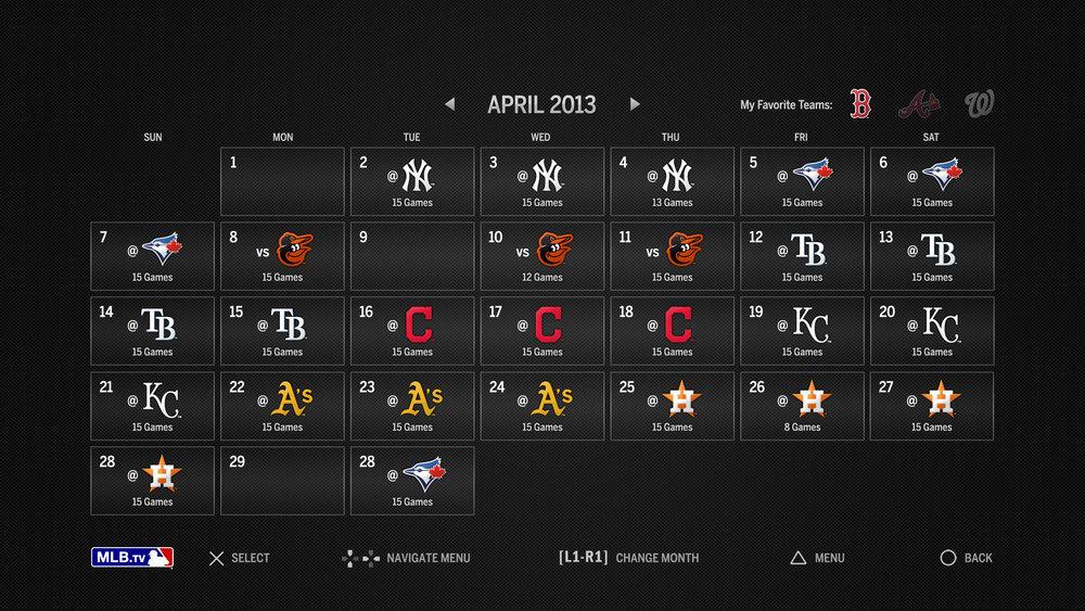 Game Schedule Calendar