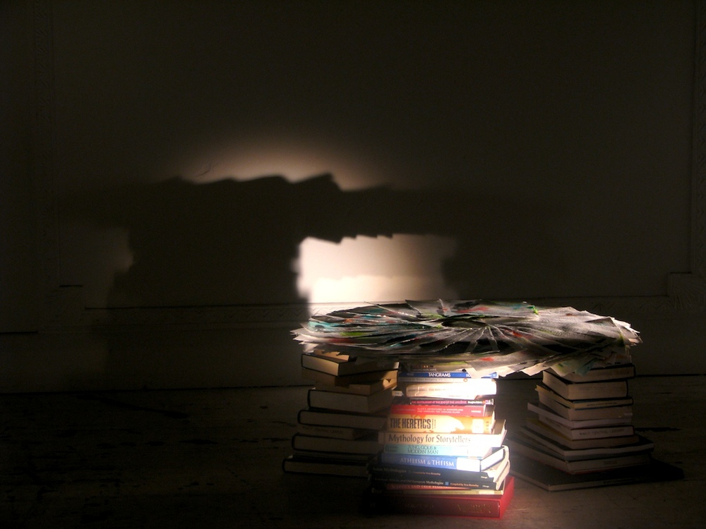 Installation of handmade, printed paper with books. 2008.