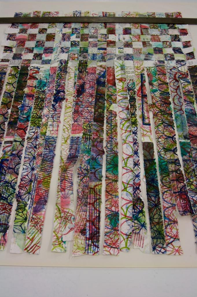 Weaving handmade, hand printed paper strips. 2008.