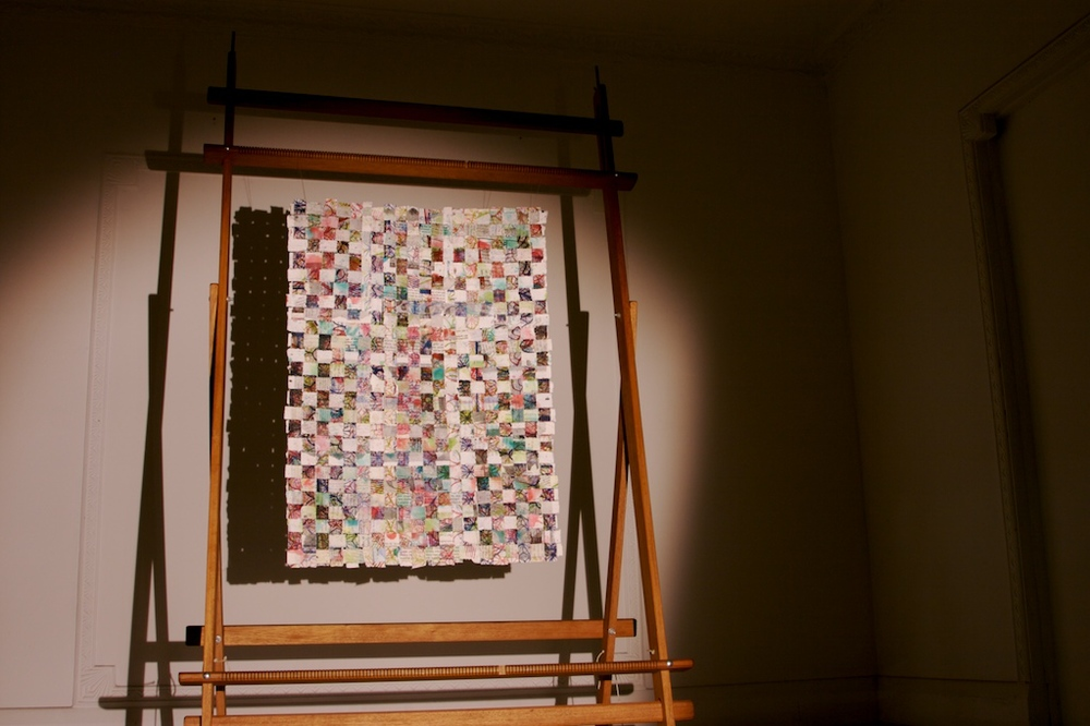 Handmade, printed and woven paper strips on tapestry loom. 2008.