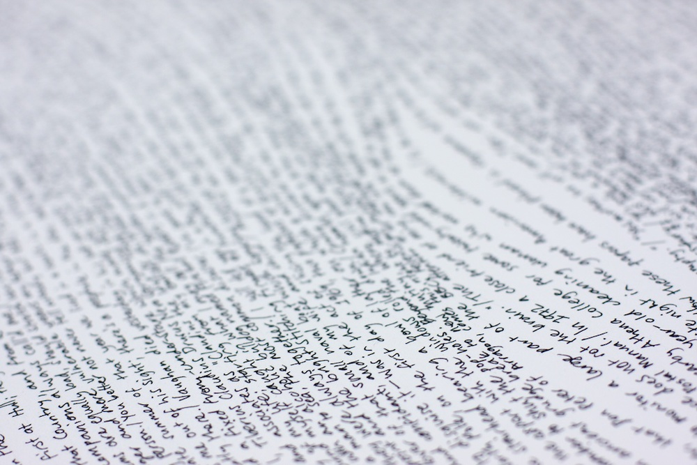 First Lines Detail. Pen on paper. Text: first lines from novels. 2010.
