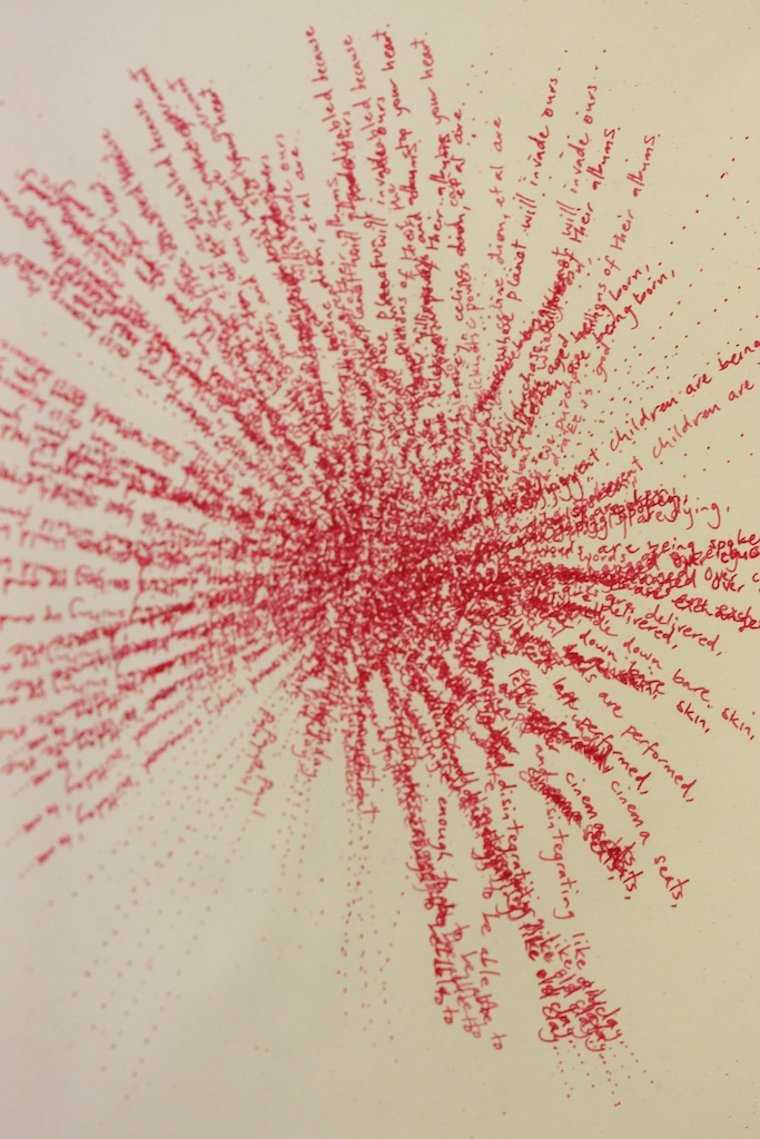 Red Shift (just like that maths equation involving clocks and trains) Detail. Lithograph on paper. Text from the birthday card that made me fall in love. 2010.